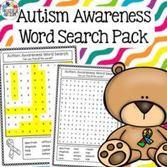 This Autism Awareness themed word search pack contains 2 different levels of word search worksheets, blank word search worksheets for students to make their own Autism Awareness word searches and also 2 vocabulary posters that include all the vocabulary u