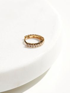 18K Diamond Helix Hoop Earring at Free People Clothing Boutique