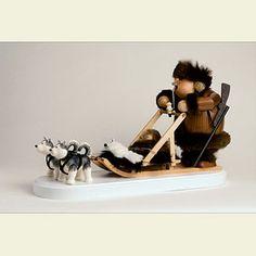 Räuchermännchen Eskimo mit Hundeschlitten - 21cm von KWO Olbernhau