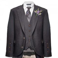 Charcoal Tweed Jacket and Waistcoat   Free Delivery   kiltmakers.co.uk