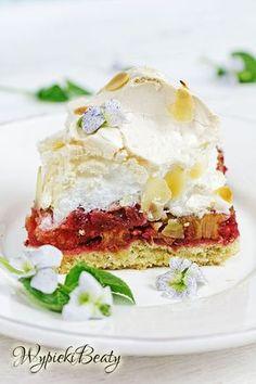 Ciasto z rabarbarem i bezą Sandwiches, Easy Meals, Food And Drink, Eggs, Breakfast, Meringue, Cakes, Recipes, Deserts