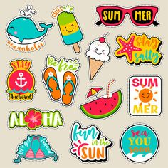 Set of fashion patches, cute colorful badges, fun cartoon icons design vector in summer holidays concept - Buy this stock vector and explore similar vectors at Adobe Stock Stickers Cool, Tumblr Stickers, Printable Stickers, Planner Stickers, Badges, Design Vector, Cartoon Icons, Cool Cartoons, Free Vector Art