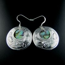 Haida Raven and Abalone Earrings http://www.spiritsofthewestcoast.com/product/haida_raven_silver_and_abalone_earrings