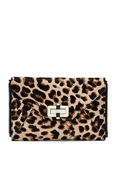 Agent Jacqueline Leopard Haircalf Zip On Clutch