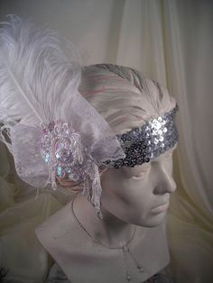 1920's Flapper Headband....feather, lace, pearls