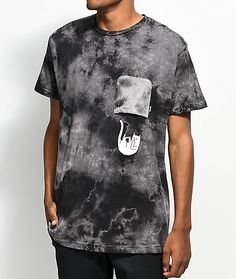 RipNDip introduces the Falling For Nermal Black Tie Dye Pocket T-Shirt. Designed with an image of Lord Nermal gracefully floating out of the upside down front left chest pocket while flipping the bird. Different Flags, Tie Dye Designs, Black Tie Dye, Neck Collar, Pocket, My Style, Devil, Model, Mens Tops