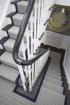 Dart Midnight Carpet Stair Runner l Coastal Staircases & Doors l www.DreamBuildersOBX.com