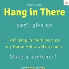 Hang in There (потерпите) Slang English, Learn English Grammar, English Writing Skills, Learn English Words, English Idioms, English Phrases, English Language Learning, English Lessons, Interesting English Words