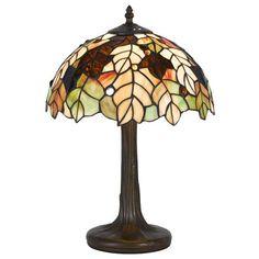 Cal Lighting BO-2376AC Tiffany Accent Lamp with Zinc Cast Base, 40-watt, Antique Brass