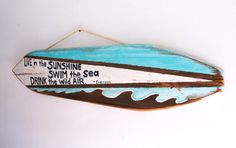 Surfboard Beach Sign on Reclaimed Wood Shabby Chic by MangoSeed #MangoSeed #ChristinaRowe