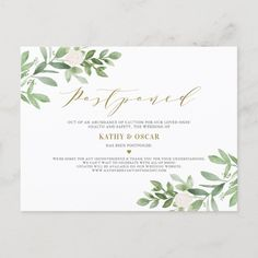 Shop Greenery and White Flowers Photo Postponed Wedding Announcement Postcard created by misstallulah. Elopement Announcement, Wedding Announcements, Invitation Design, Invitations, Modern Wedding Stationery, Wedding Postcard, Modern Wedding Inspiration, Wedding Website, Save The Date Cards