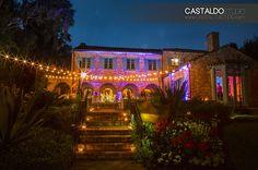 Market Lights and Up Lighting at a wedding reception at Casa Feliz. Lighting by www.keventlighting.com. Photography by www.castaldostudio.com.  #casafeliz #casafelizwedding #orlandowedding #marketlights #marketlighting #stringlights #keventlighting