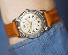 Collectible men's watch Rodina first automatic Soviet by SovietEra