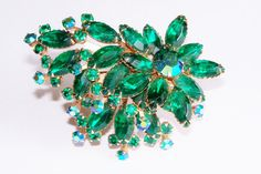 Vintage Brooch Rhinestones Green Navettes AB Green Round Gold Tone Bridal Sash Bouquet Jewelry Jewellry Gift for Her Christmas Birthday by YoursOccasionally on Etsy https://www.etsy.com/listing/216923504/vintage-brooch-rhinestones-green