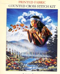 DMC Printed Fabric Collection Counted Cross Stitch Kit -  AUTUMN LEAVES Native American Indian Girl - Mountain Village on 14 Count Fabric