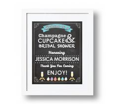 Welcome Sign in a Champagne & Cupcake Theme from Sandy's Signatures Champagne Cupcakes, Tiffany And Co, Create Your Own, Bridal Shower, Sign, Shower Party, Bridal Showers, Signs, Board
