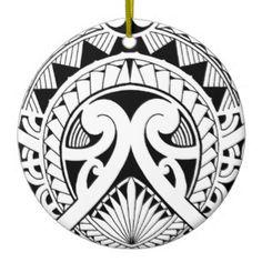 hoja tribal maorí polinesia mezclada del coco del adorno redondo de cerámica