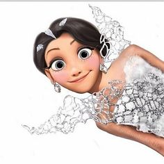 Cartoon Rapunzel / Katniss in the wedding dress - Tangled and the Hunger Games - Disney Princess Victor