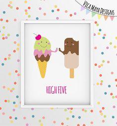 Ice cream Art Print, Icecream Art, Nursery Art, Dessert Art, Kitchen Wall Art…
