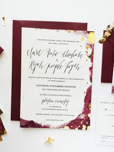 Maroon and gold announcements by Foil & Ink!! #goldfoiling #announcements