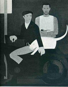 kaufen Gemälde'der drei brüder' von Will Barnet - Kaufen Sie eine handgemalte Ölreproduktion , Kunstreproduktion, Ölgemäldereproduktionen, Kunst auf Leinwand, Kunstwerksreproduktion, Leinwand Ölgemälde Reproduktion Kunstwerk