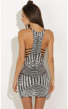 So perfect for NYears: Party dresses > Sequin Geometric Bodycon Dress In Silver