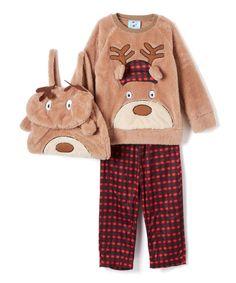Brown & red Reindeer Games Pajama Set & Backpack - Toddler & Boys