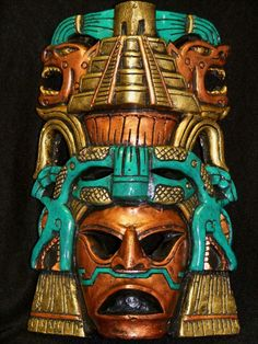 Aztec Warrior Mask Serpent Calendar Mayan Plaque Maya Mexican Art