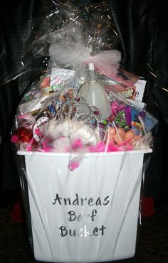 "Idea for bach party gift ""Bride to be's barf bucket!"" -- Filled with all kinds of goodies!"