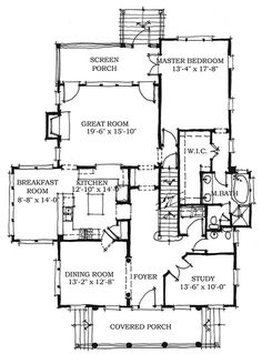 Colonial Style House Plan - 5 Beds 3.5 Baths 2727 Sq/Ft Plan #464-11 Floor Plan - Main Floor Plan - Houseplans.com