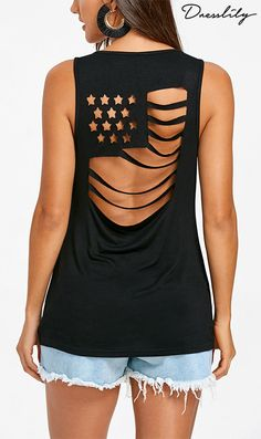 This casual sleeveless T-shirt features cut out back to create an American flag pattern and a ripped vision. It's very cool and fashionable to wear outside, special for the summertime beach musical festival. Best pair it with shorts and Gladiator sandals.