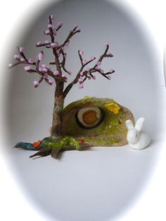 Hole Cave  with Tree and bunny  . Agate . Wet Felted. Waldorf. Spring,Eastern.