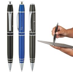 The Elite aluminum twist-action ballpoint pen has a precision stylus that works with touch screen devices. The unique retractable precision stylus lets you see exactly where your mark is being made and is ideal for creative professionals. Rotate top clockwise to first locking position to extend stylus tip, rotate clockwise again to retract stylus tip. It also features a diamond etched mid-ring, chrome accent rings, pocket clip and trims. Utility patent pending. Mid Rings, Ballpoint Pen, Stylus, Chrome, Touch, Patent Pending, Pens, Action