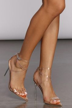 These fab strappy heels are the perfect pairing to any outfit! They feature a clear, strappy design with adjustable ankle straps, an open toe, a high clear stiletto heel, and a pointed sole. Hot Heels, Lace Up Heels, Sexy Heels, Stiletto Heels, Strappy Heels, Fancy Shoes, Cute Shoes, Women's Shoes, Talons Sexy