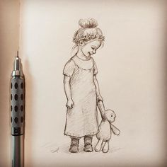 One more little girl drawing. Quick sketch. #kiddrawing #kidsillustration #childrenillustration #pencilsketch #pencil #sketch #annaabramskaya #art #childrensillustration #childsketch #childrendrawings #littleprincess #littlekids