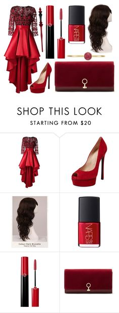 """""""The Wedding"""" by azura123 ❤ liked on Polyvore featuring Christian Pellizzari, Casadei, WigYouUp, NARS Cosmetics, Giorgio Armani, Louise et Cie and Anne Klein"""