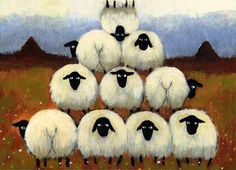 Thomas Joseph I love this artists cartoon illustration style sheep paintings and prints funny and whimsical country art Art Et Illustration, Illustrations, Art Fantaisiste, Sheep Paintings, Sheep Art, Arte Country, Sheep And Lamb, Alpacas, Naive Art