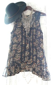 Gypsy tunic, Stevie Nicks style sheer rock goddess top, Retro hippie chic floral shirt, Bohemian clothing, Black tunic, true rebel clothing