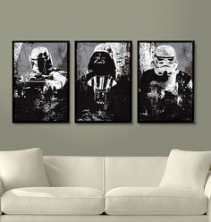 "Brian would LOVE this. Star Wars All Black Darth Vader, Stormtrooper and Boba Fett Poster Set 11""X17"""