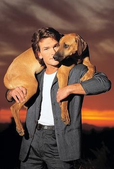 """vintagesalt: """" Patrick Swayze photographed by Timothy White, """" Patrick Swayze, Rhodesian Ridgeback, Hollywood Stars, Classic Hollywood, Amor Animal, Classic Movie Stars, Hommes Sexy, Dirty Dancing, Fox Terrier"""