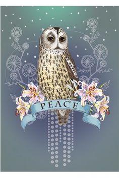 PAPAYA! art peace owl card