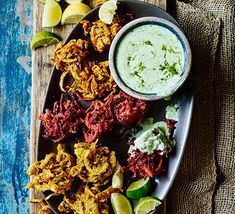 A colourful starter or party snack, these bhajis pack a subtle spice. Serve with cooling coriander cream and zesty lime wedges