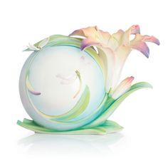 Franz Porcelain Decennial Collection Lily Flower And Dragonfly Design Sculptured Porcelain Mid Size Vase Limited Edition 2,000
