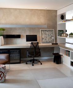 Apartamento Diogo Jacome 2 / Paula Magnani Freitas #homeoffice #grey #cimento