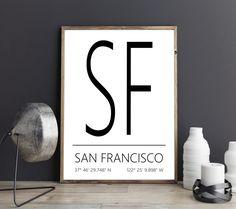 San Francisco Kunstdruck, San Francisco Poster, San Francisco Artprint, San Francisco Koordinaten, San Francisco Digital Print von FineArtHunter auf Etsy