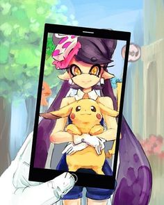 Awwww (not my art all rights go to the original artist ) #Pikachu #callie #squidsisters