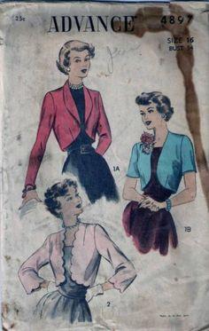 Vintage 40s 50s Bolero Jacket Sewing Pattern 4897 B34 16