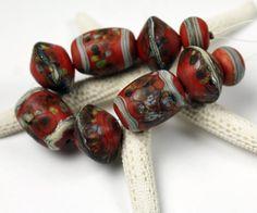SRA Lampwork Glass Bead Set Etched Matte Rustic Organic Coral Beige Brown  'Hacienda'
