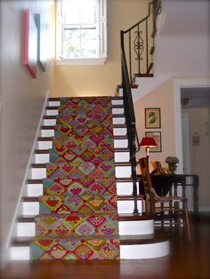 Love the festive carpet - Dash & Albert Basement Stairs, Entry Stairs, Home Suites, Stair Rugs, Wood Tile Floors, Cozy Place, Cozy Living, Cool Rooms, Cozy House