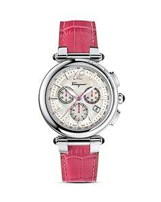 Salvatore Ferragamo Idillio Stainless Steel Watch.42 mm case, Ronda 5040D Swiss Quartz chronograph movement.Crown & lugs with black onyx cabochon.